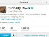 "На твиттер марсохода ""Кьюриосити"" подписался миллион человек"