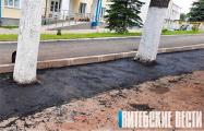 В белорусском поселке заасфальтировали газон вместе с деревьями