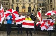 Белорусы зарубежья вышли на акции солидарности и поздравили с Днем Победы
