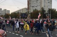 Голова колонны продолжает движение по проспекту Независимости в сторону МКАД