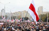 Таймлапс: Нескончаемый поток демонстрантов на проспекте Машерова