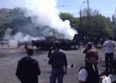 Сепаратисты в Мариуполе подожгли БМП с боекомплектом (Видео)