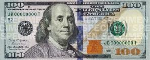 Новые 100 долларов: светло-голубой колокольчик