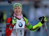 Домрачева занимает третье место в общем зачете Кубка мира по биатлону
