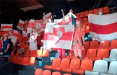 На матче Чемпионата Европы по Баскетболу развернули 10 бело-красно-белых флагов