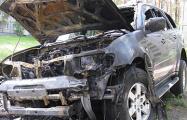 В Светлогорске сожгли джип, приехавший из России