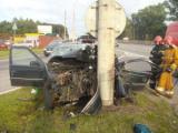 На МКАД водитель на Peugeot врезался в столб