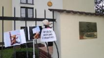 К посольству РБ в Лондоне вышли уже 5 медведей (Фото)