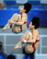 Китайские спортсменки выиграли олимпийский турнир по синхронным прыжкам в воду