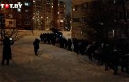 Большая колонна протестующих собралась во Фрунзенском районе Минска
