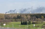 Черный дым над Зеленым Лугом в Минске