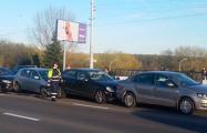 В Минске у Дворца Независимости столкнулись шесть авто