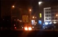 На улице Кальварийской в Минске горят автомобильные покрышки
