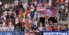 Матч Беларусь - Финляндия прошел под бело-красно-белыми флагами