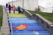 Арт-лестница в Могилеве: птицы и рыбы под ногами