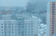 На территории военной части в Уручье вспыхнул сильный пожар